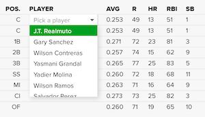 Fantasy Baseball Roto Team Builder - Draft and Roster